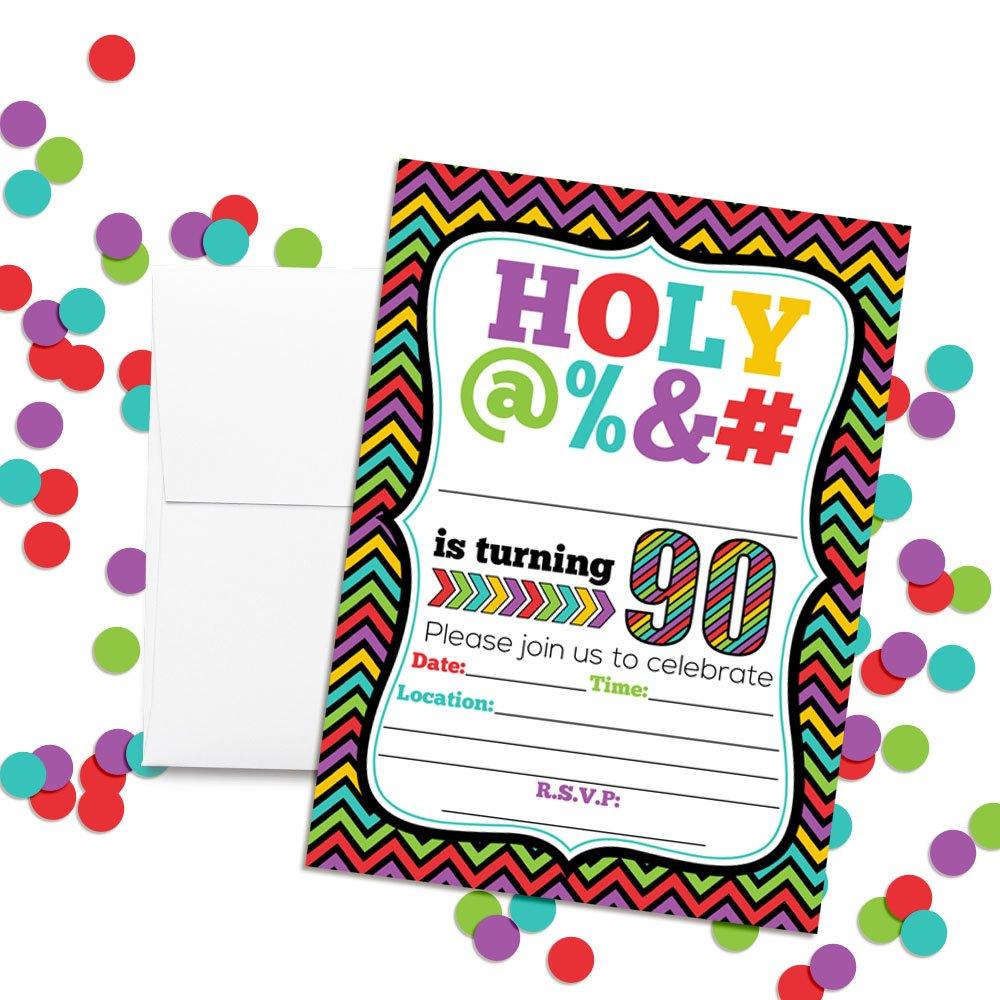 Amazon HOLY 90th Birthday Party Invitations 20 Funny 5x7 Fill In Cards With Twenty White Envelopes For Milestone Birthdays By AmandaCreation