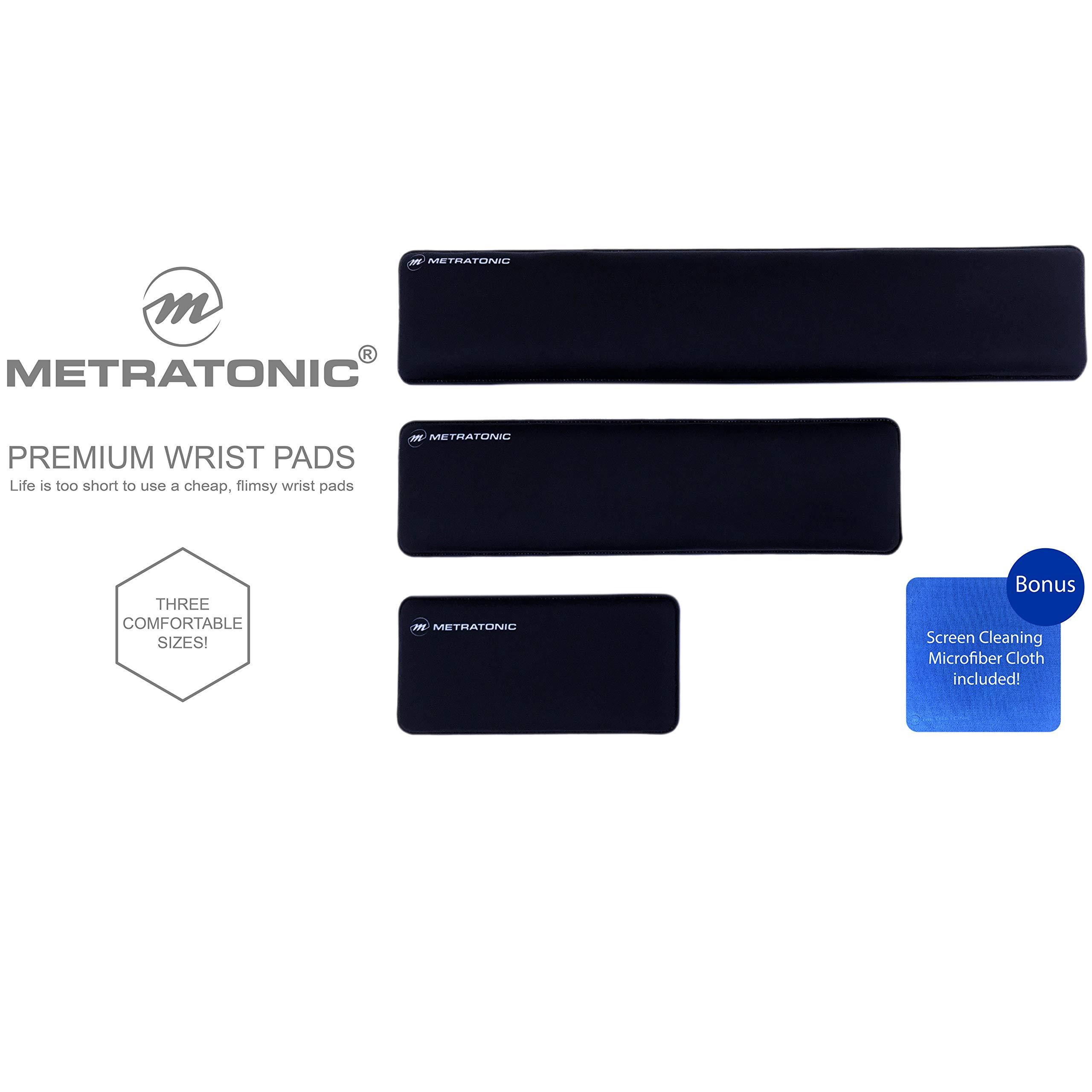 "XL Keyboard Wrist Rest/Wrist Pad, TENKEYLESS 14.5"" Long x 4"" Wide x 1"" Thick Padded Water Resistant, Ergonomic Memory Foam Gel, Anti-Fray Stitched Edges, Anti-Slip Rubber Base, Black | by Metratonic by Metratonic (Image #9)"