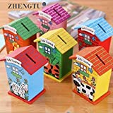 ZHENGTU Piggy Bank for Kids Wood House Animal Designs, Educational Learning Toys Multi Color Perfect Return Gift for Kids Birthday Party (Pack of 6)