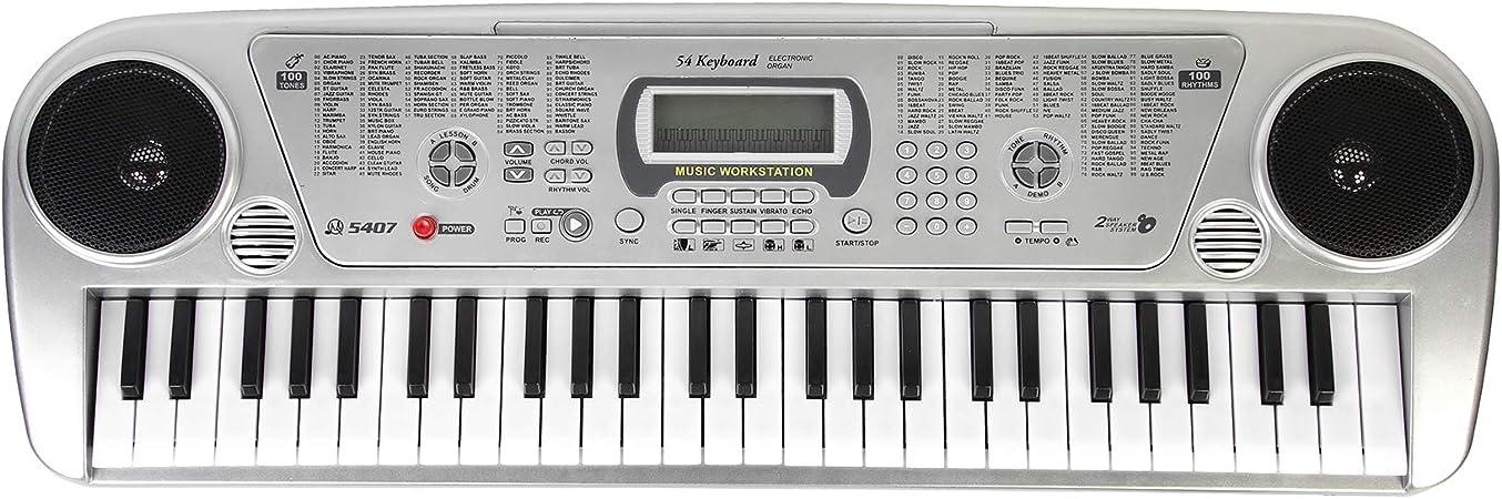 Teclado de piano, piano digital con 54 teclas, teclado con micrófono, piano infantil, teclado de piano musical multifuncional para niños y ...