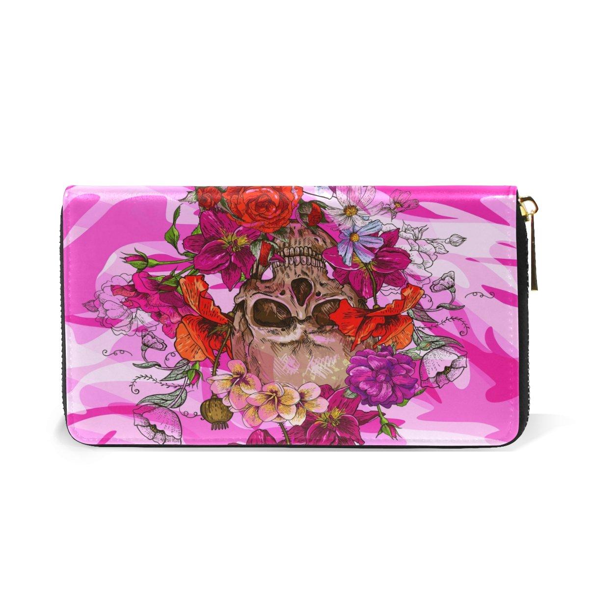Amazon.com: Mujer Calavera Rosa portafolios Funda de piel ...