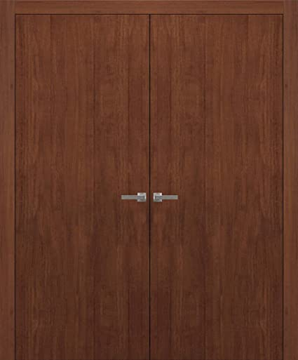 Planum 0010 Interior Double Closet Flush Wood Doors 60u0026quot; X 80u0026quot;  Mahogany Walnut Modena