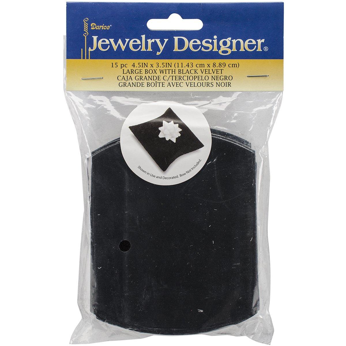 Darice Self Folding Jewelry Boxes (15 Pack), 4.5 x 3.5, Black Velvet 4.5 x 3.5 1893-32