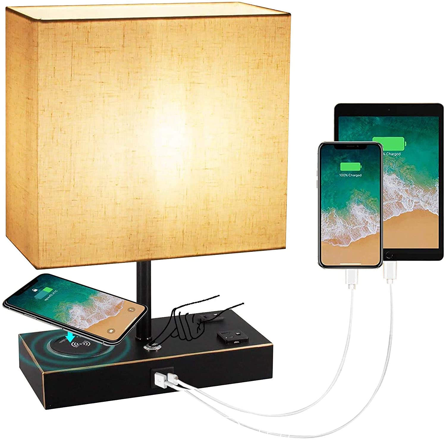 Touch Control Desk Lamp with Wireless Charger, 3 Way Dimmable Bedside Table Lamp with USB and Type C and 2 AC Outlets,Nightstand Desk Lamp for Bedroom Living Room Office, 9W Blub Include(Black).