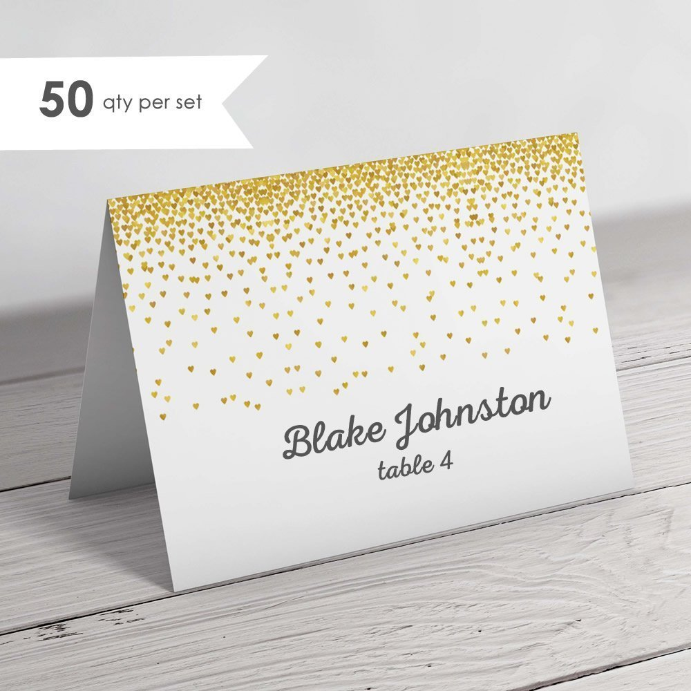 50 Gold Wedding Place Cards- Folded Place Cards- Gold Escort Cards Wedding