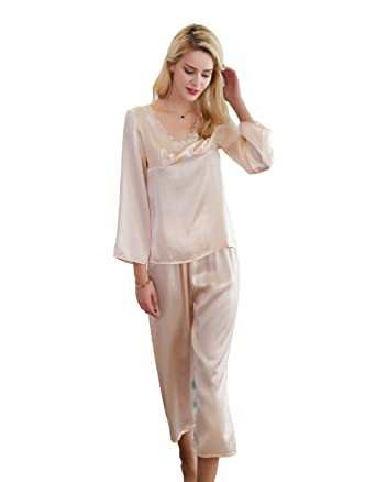 eacb627ef13d CLC Women s Pure Mulberry Silk Pajama Set Sleep Sets at Amazon Women s  Clothing store
