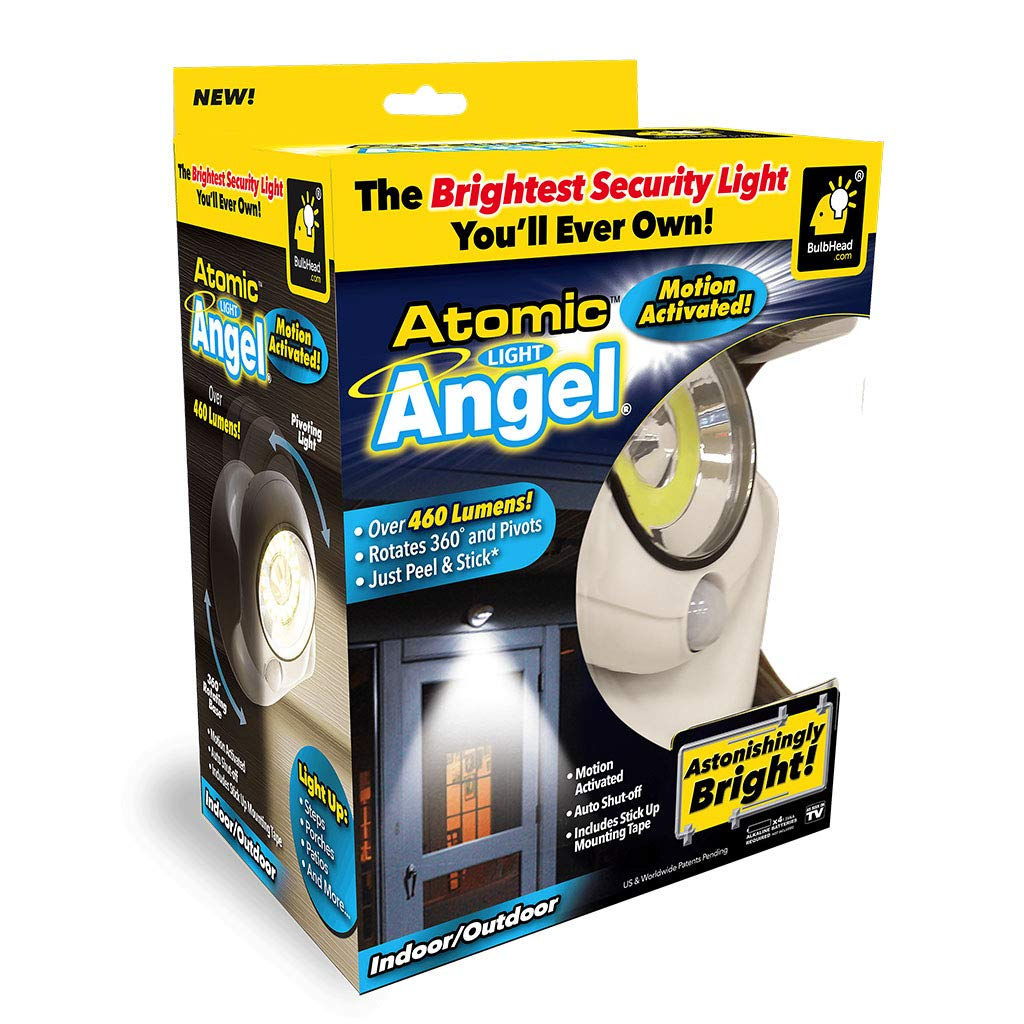 Official As Seen On TV Atomic Light Angel Cordless Motion Activated LED Light by BulbHead, Swivels 360-Degrees & Pivots, Shining...