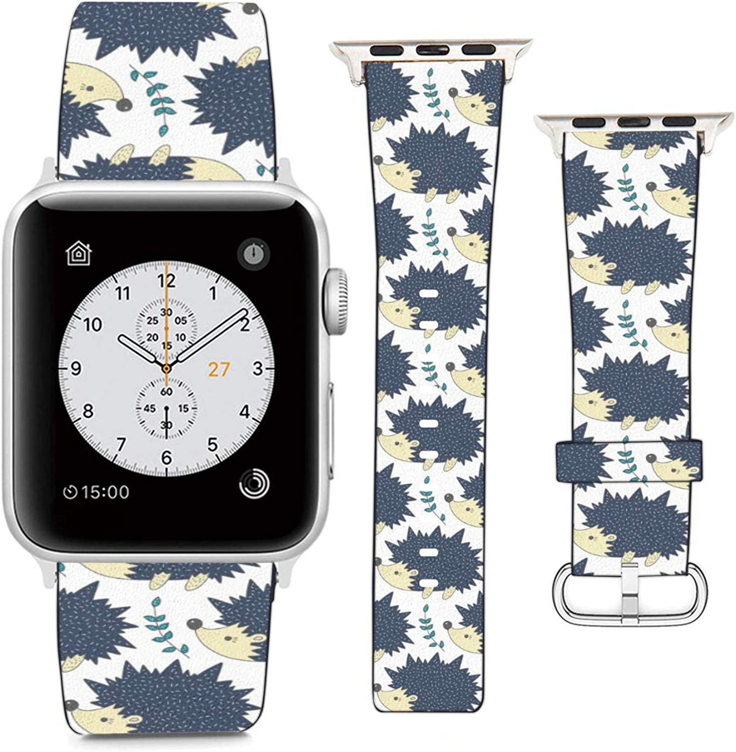 Compatible with Apple Watch Wristband 42mm 44mm, (Hedgehog Pattern) PU Leather Band Replacement Strap for iWatch Series 5 4 3 2 1