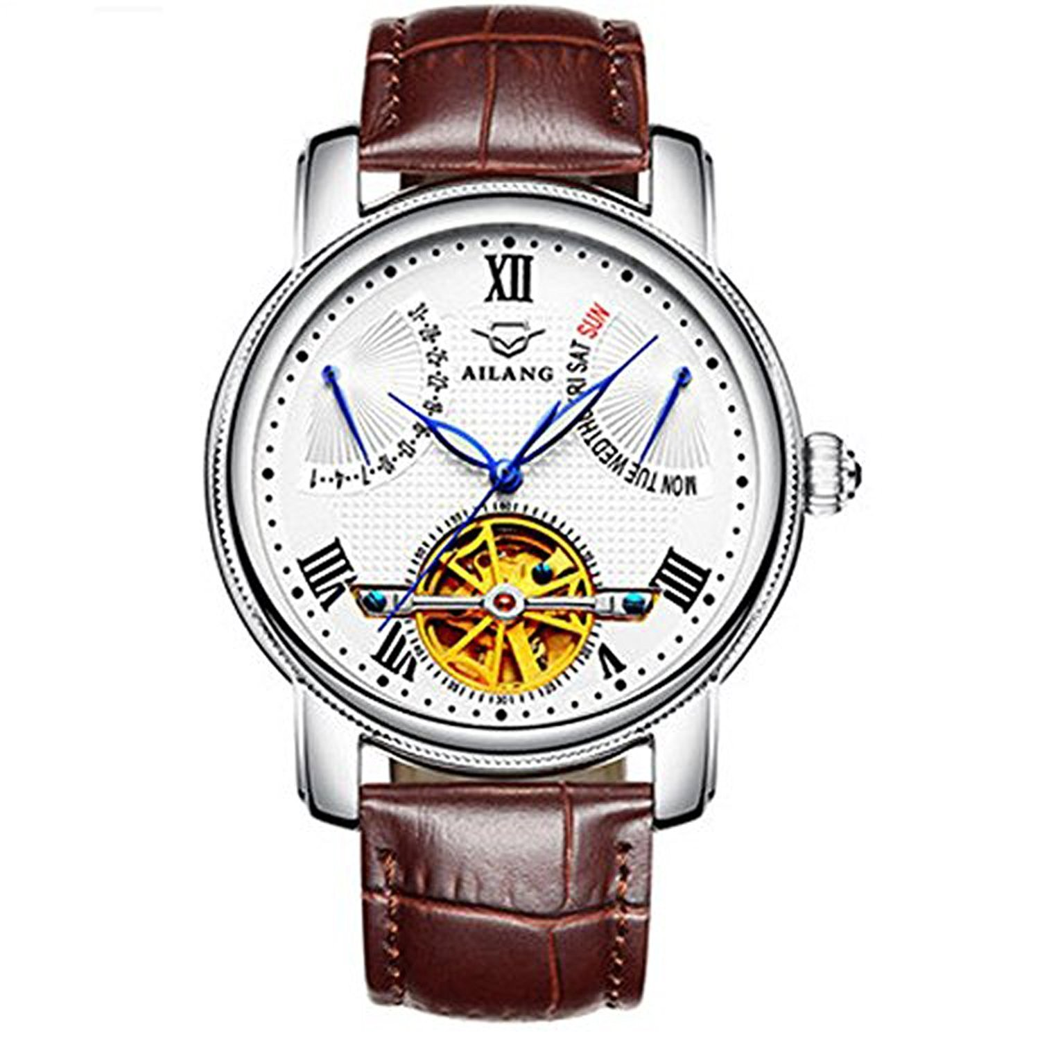 Ailang Men's business leisure leather automatic mechanical watches tourbillon watches men's luxury watches brand watches (silvery) -290
