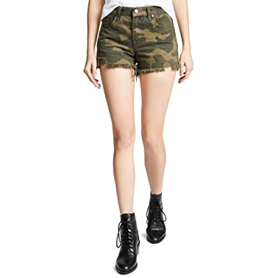 [BLANKNYC] Blank Denim Women's Cutoff Shorts, Army of One, Print, Green, 29 at Women's Clothing store
