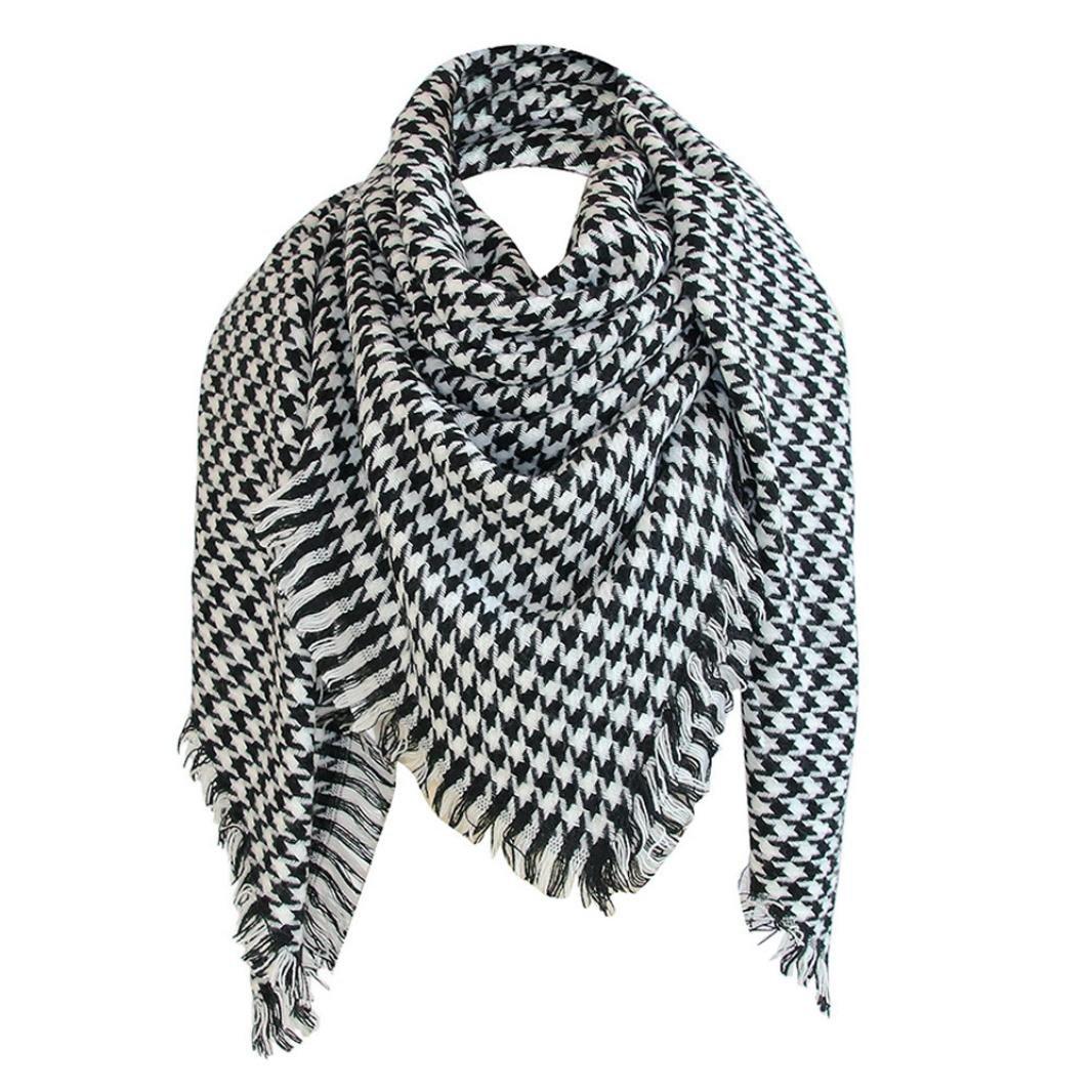 lookatool Winter Square Stripe Scarf Women Shawl Plaid Scarves Blanket Shawls