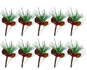 Rocinha Artificial Pine Picks Christmas Picks with Red Berries Pinecones Christmas Package Decorations, Pack of 10, 3.5 Inches
