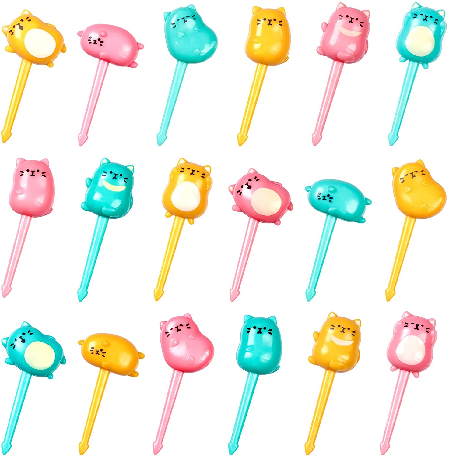 GET FRESH Animal Food Picks for Kids – 18-pcs Cat Food Picks for Toddlers Lunch Decoration – Cute CatBentoToothpicks for Children – Reusable Kids Foods Picks Tooth-picks Set for Bento Deco