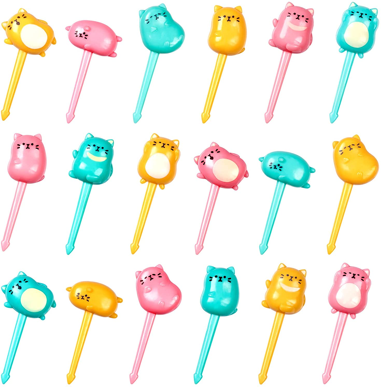 GET FRESH Animal Food Picks for Kids – 18-pcs Cat Food Picks for Toddlers Lunch Decoration – Cute CatBentoToothpicks for Children – Reusable Kids Foods Picks Tooth-picks Set for Bento Deco