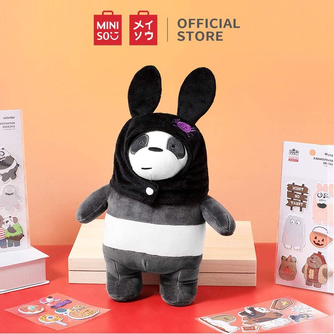 MINISO We Bare Bears Standing Plush Toy 11.8 with Hat Panda
