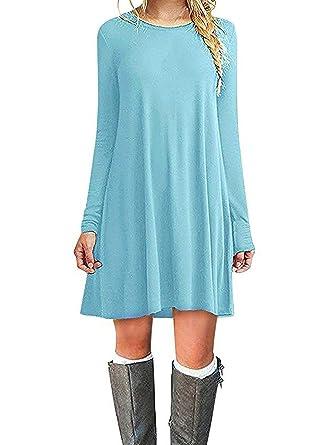 6499e58a1b2 Women s Casual Plain Fit Flowy Simple Swing T-Shirt Loose Tunic Dress(Small