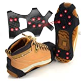 JSHANMEI Ice & Snow Grips Ice Spikers Grippers Crampon Cleats Traction Cleat Rubber Spikes Anti Slip 10-Stud Crampons Slip-on Stretch Footwear