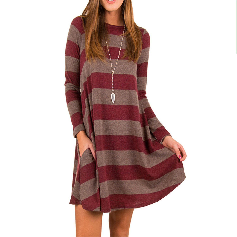 Autumn Winter Dress Women Loose Dress Long Sleeve Vestidos Vintage Retro Robe Femme Boho Mini at Amazon Womens Clothing store:
