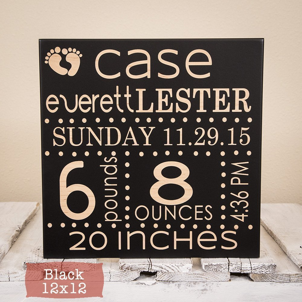 Newborn Birth Decor Baby Birth Announcement Sign Wood Engraved Baby Wall Art Baby Name Sign