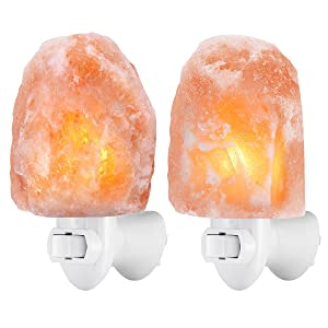 AMIR [Upgraded] Salt Lamp, Natural Himalayan Crystal Salt Light with 4 Bulbs (2 Colorful Bulbs), 11.2oz Mini Hand Carved Night Light with UL-Approved Wall Plug, Lighting and Decoration, 2 Pack