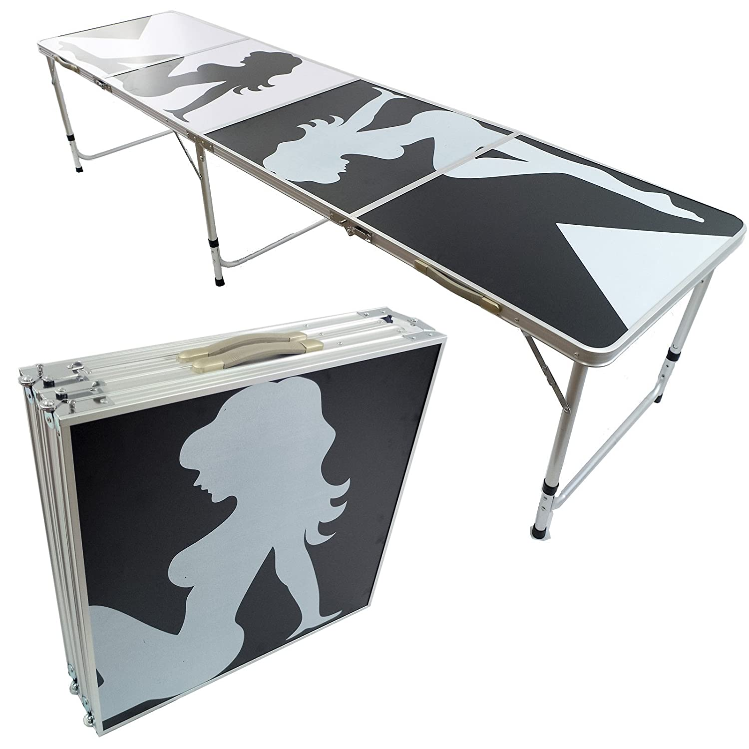 NEW 8' BEER PONG TABLE ALUMINUM PORTABLE ADJUSTABLE FOLDING INDOOR OUTDOOR TAILGATE PARTY GAME #1 PONGBUDDY