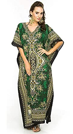 cb5027f2604 Classic Curves Women's Polyester V-Neck Kaftan Dress Beach Cover Up Night  Gown Robe (CC365214, Green, Free Size): Amazon.in: Clothing & Accessories