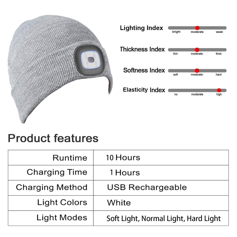 Chasse PRAVETTE Bonnet en Tricot avec lumi/ère 4 LED Unisexe Bonnet Chapeau USB Rechargeable Hands Free Phare Casquette de Phare Amovible Lavable et Dimmable pour Jogging Barbecue Camping