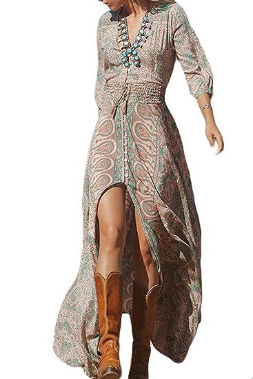 Zamtapary Vestido Mujer del Verano 3/4 Manga De Cuello En V Vestido De Hendidura Playa Bohemio Largo Beach Maxi Fiesta Drawstring Talla Grande: Amazon.es: ...