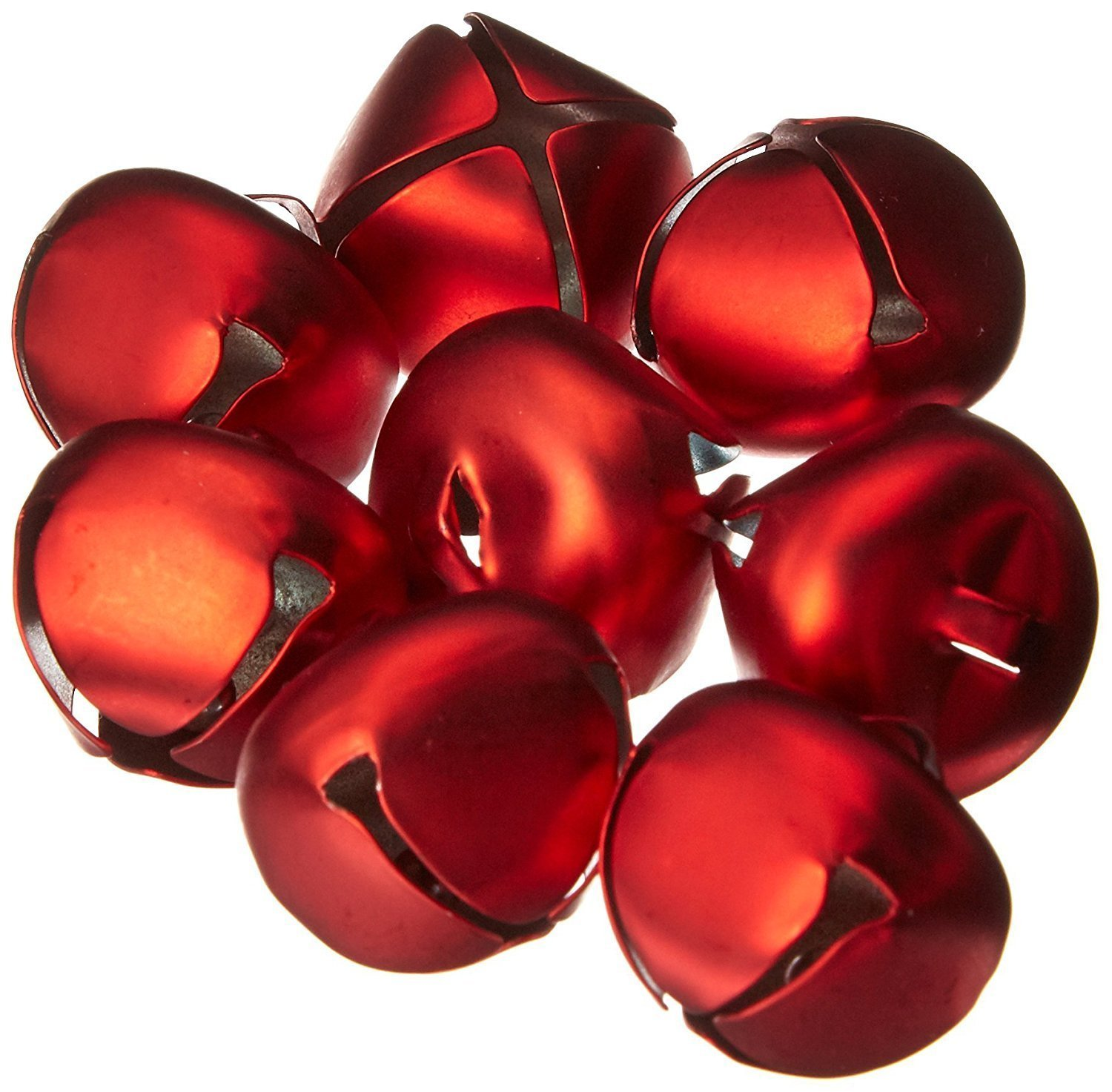 Matte Red Metal 25mm (Approx 1inch) Jingle Bells (8 Pack)