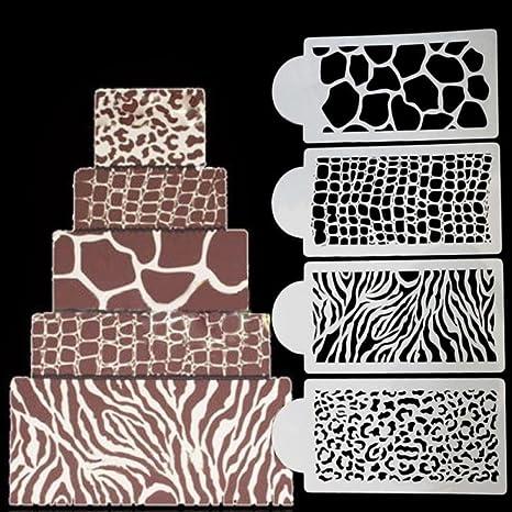 Benhai 1 set/4 pezzi di torta Zebra pelle leopardo grano coccodrillo ...