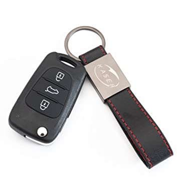 Carcasa Funda Llave Remoto Mando 3 Botones para Hyundai i20 i30 iX20 iX35 con Llavero de Cuero KASER