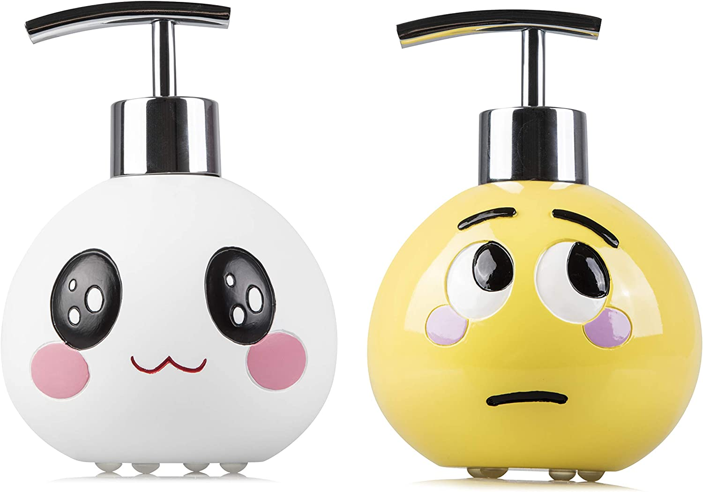 SmileWares Cute Emoji Liquid Hand Soap Dispenser Set for Bathroom Decor, Kitchen countertops or Bath Accessories