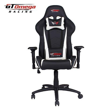 GT Omega Racing - Sillón de oficina de piel, color blanco y negro