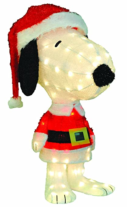 productworks 32 inch pre lit 3d peanuts santa snoopy christmas yard decoration 80