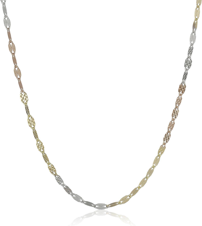 14k Gold Italian Max 76% OFF Tri-Color Dallas Mall Diamond-Cut Finish Link Nec Satin and