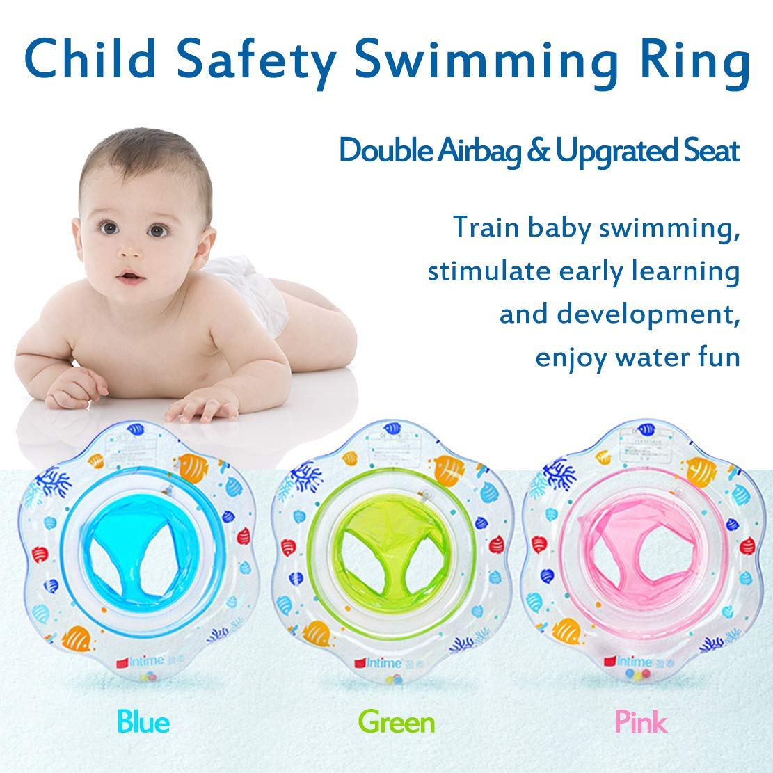 Blue Mai Poetry Baby Double Airbags Floating PVC Inflatable Baby Swim Float Seat Swimming Ring