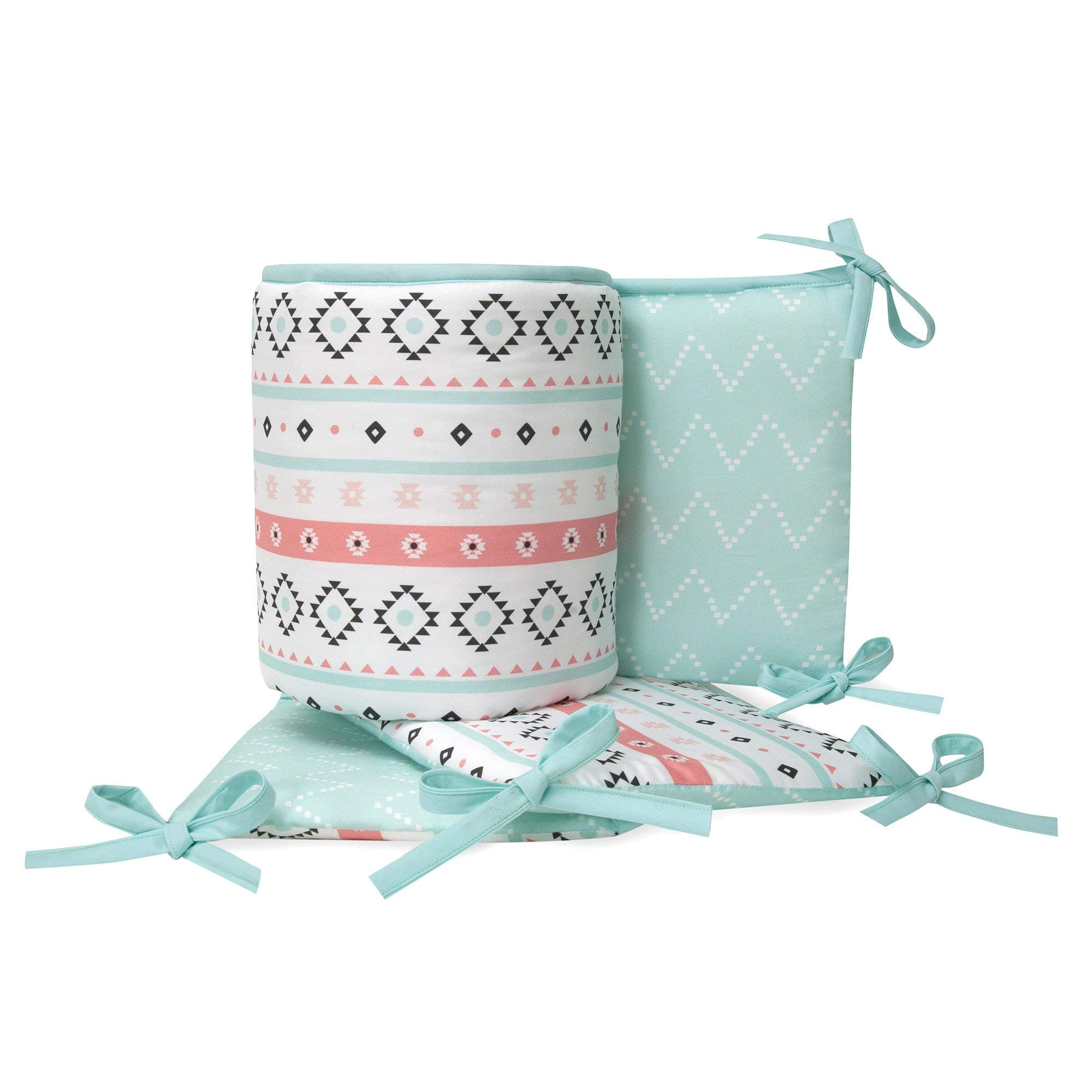 Lambs & Ivy Little Spirit 4-Piece Crib Bumper - Blue, White, Coral, Modern by Lambs & Ivy