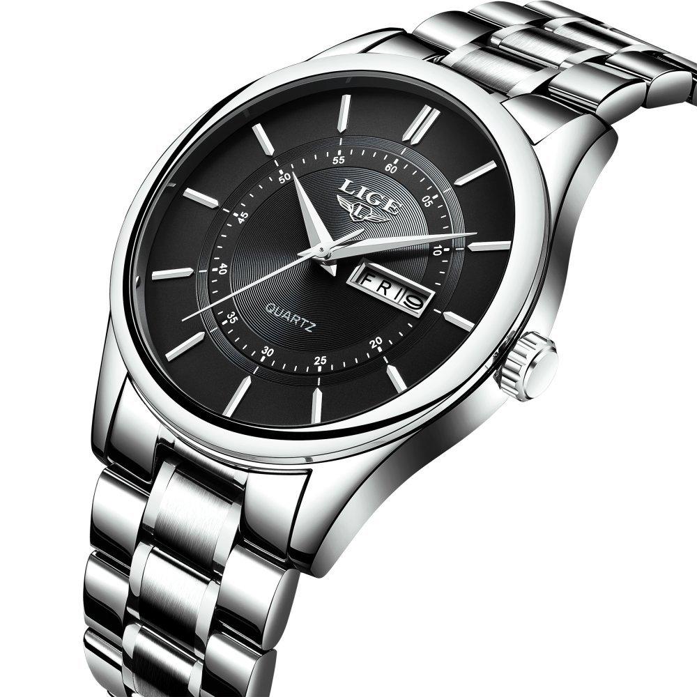 Men's Watch Full Steel Quartz Analog Wrist Watches Men Luxury Brand LIGE Waterproof Date Business Watch