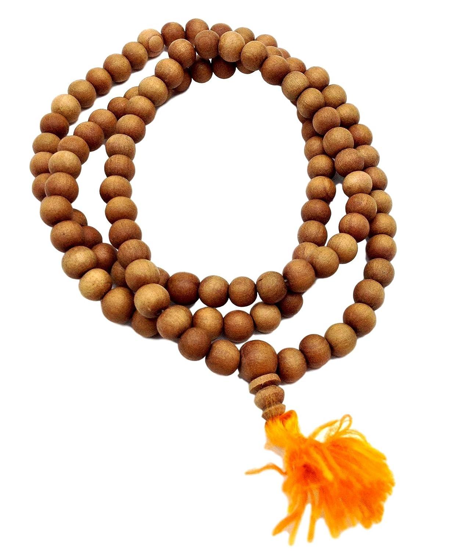 Healing Lama Trademarked 108 Beads Genuine Sandlewood Tibetan Meditation  Prayer Japa Mala, Necklace  8MM Beads Size