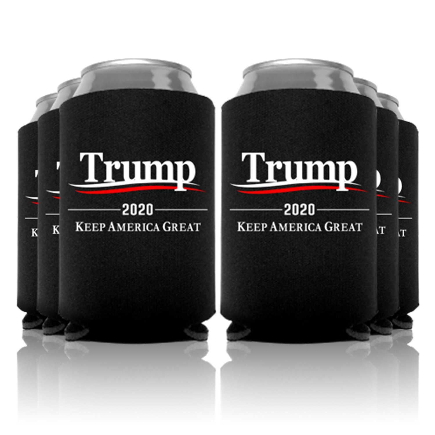 Trump 2020 Keep America Great Wavy Can Coolers Party Favor, Black, 6 Pc