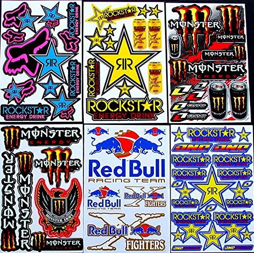 6 Sheets Motocross Stickers Kce Rockstar Bmx Bike Scooter