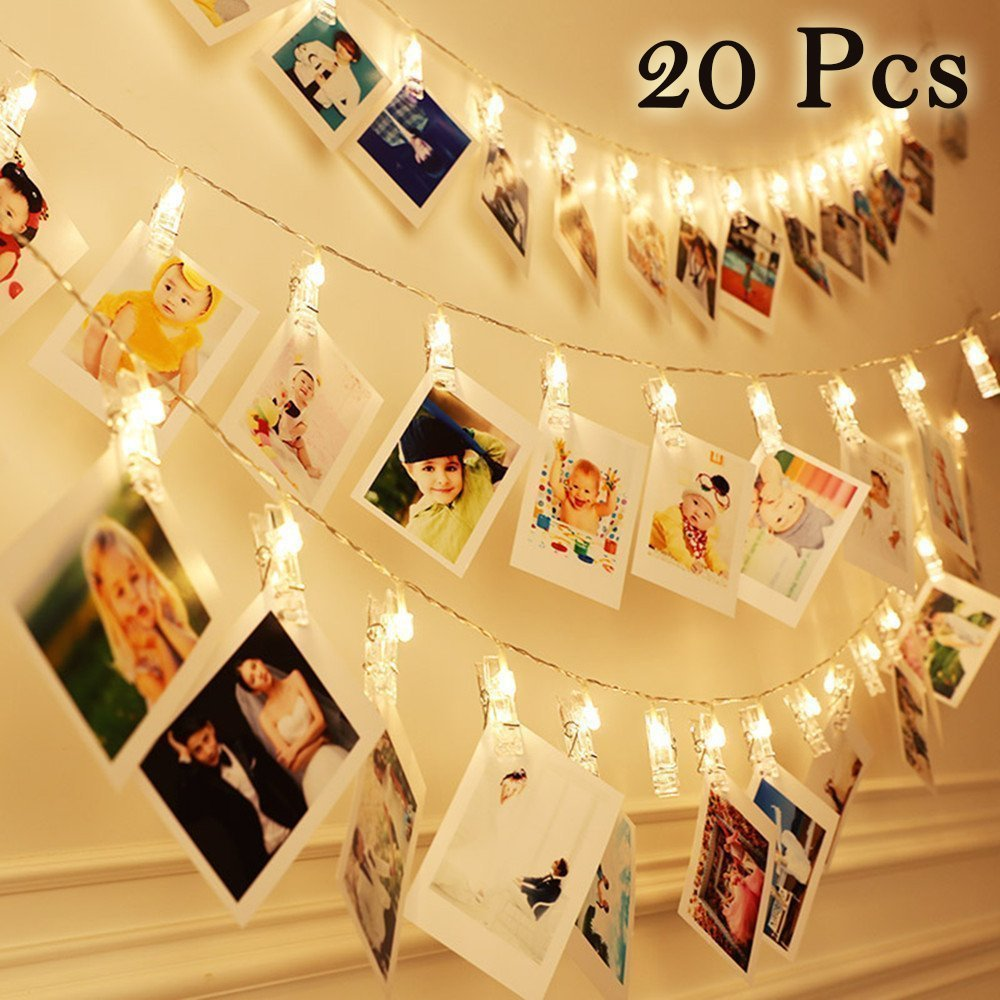 20 LED Warm White Photo Clips String Lights - Battery Powered Hanging Photo String Display String for Picture, Cards, Artwork, Home Decor Display Amhii