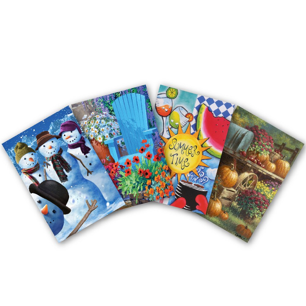 Toland Home Garden 12.5 x 18 Inch Decorative Seasons 4-Pack Garden Flag Bundle