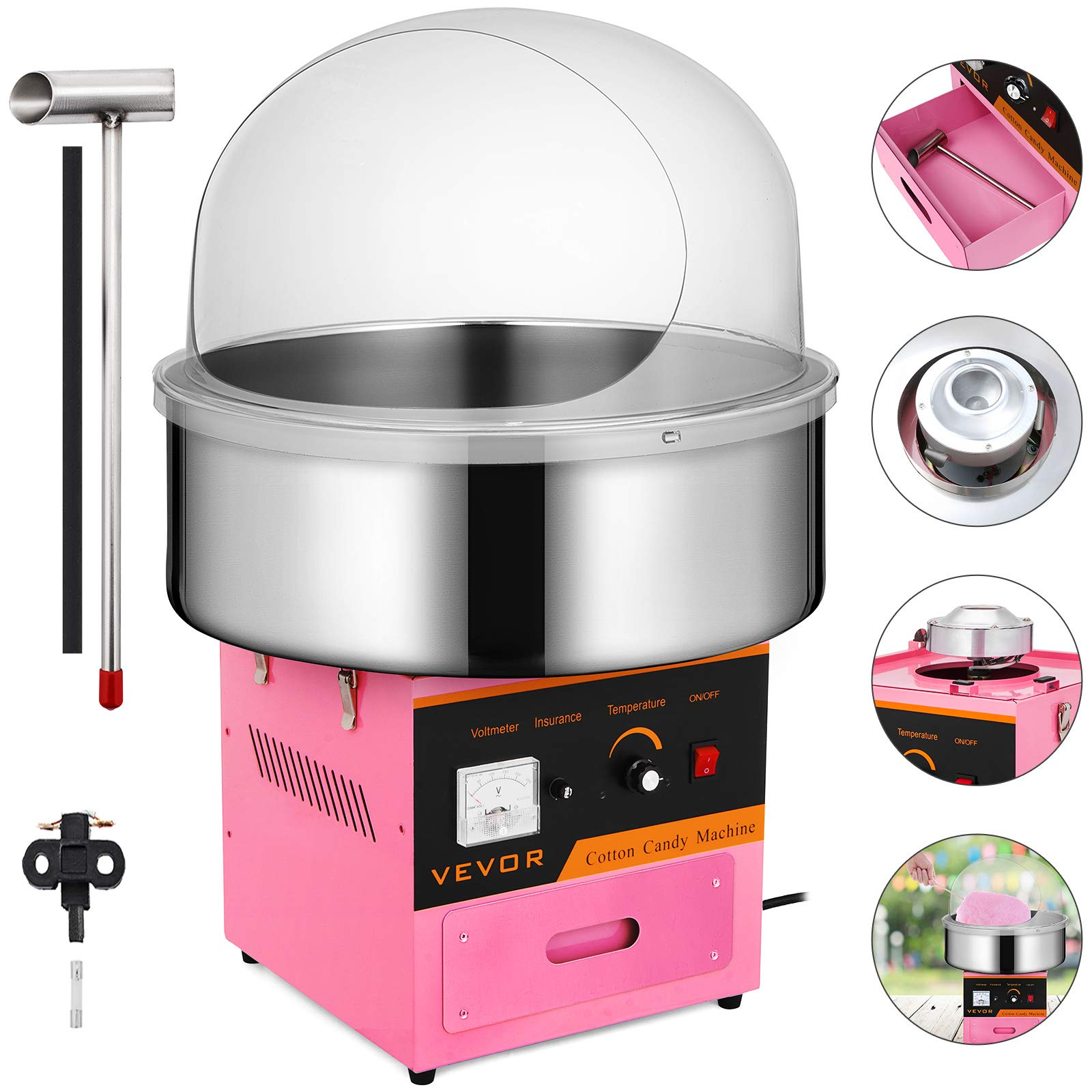 VEVOR Electric Candy Floss Maker 20.5 Inch Cotton Candy Machine 1030W for Various Parties (Cotton Candy Machine with cover)