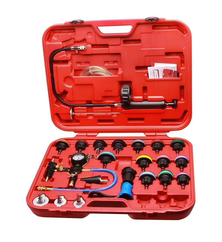 MCTECH Kit di tester per sistema di raffreddamento, 27 pezzi, tester pressione del radiatore, serbatoio dell' acqua, rilevamento perdite, attrezzi per automobili Generic