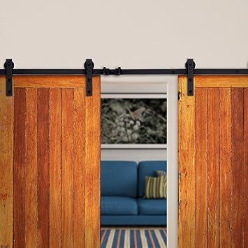 Buena Vida 12 ft Kit de sistema de guía puerta corrediza de granero Hardware puerta doble de madera corredera interior DIY montaje en pared guía juego oscuro estilo antiguo de café hmi067: