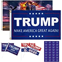 2pcs Trump 2020 Flags 3x5 Outdoor (Make America Great Again and Trump Tank Flag) with Grommets and 4 Holding Small Trump…
