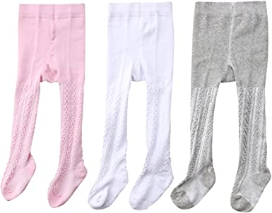 Tiny One Tights for Baby Girls and Boys in Set of 3 White Tights Set of Organic and GOTS Certified Cotton