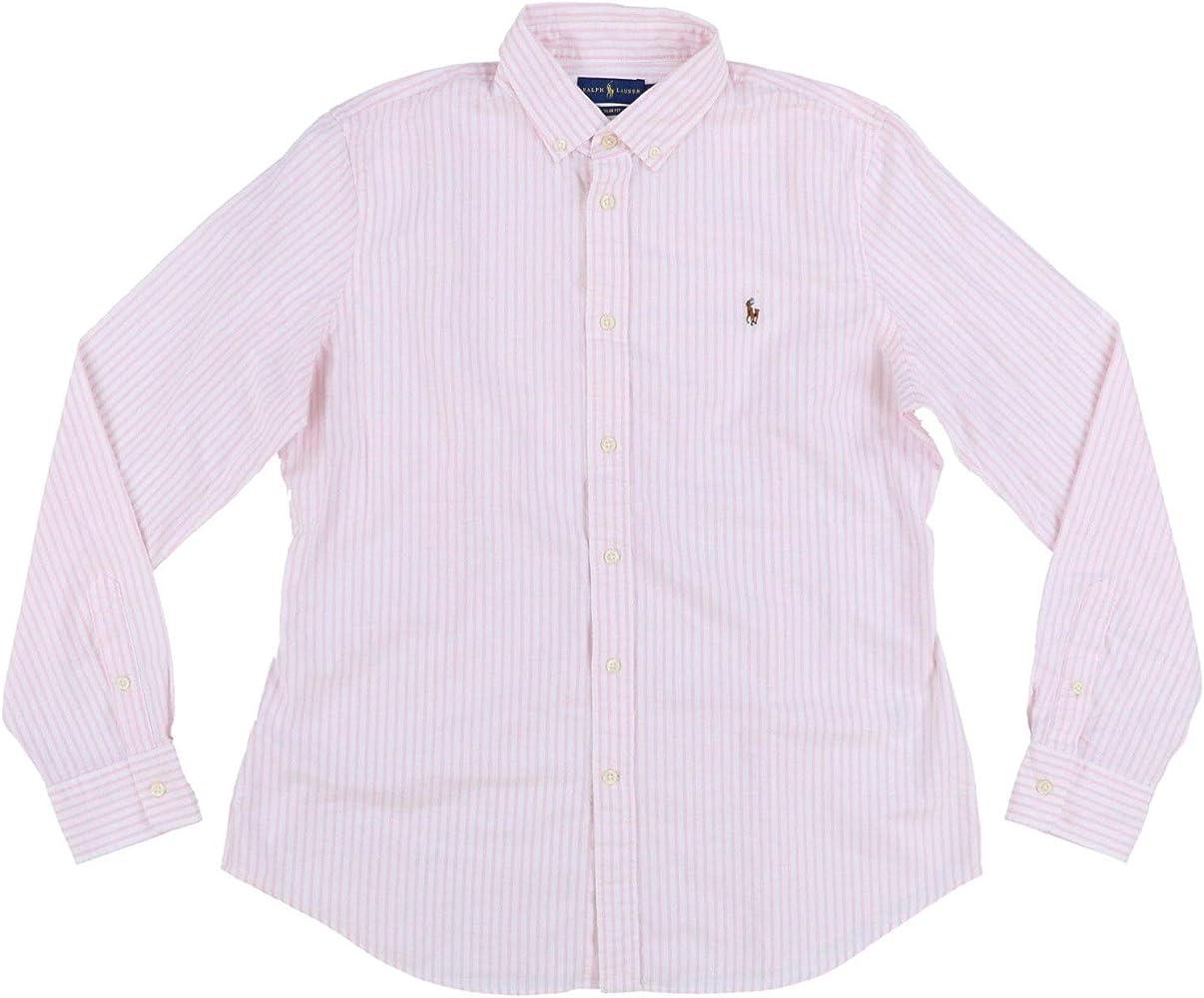 RALPH LAUREN Camisa Oxford de ajuste entallado para mujer - Rosa - X-Large: Amazon.es: Ropa y accesorios
