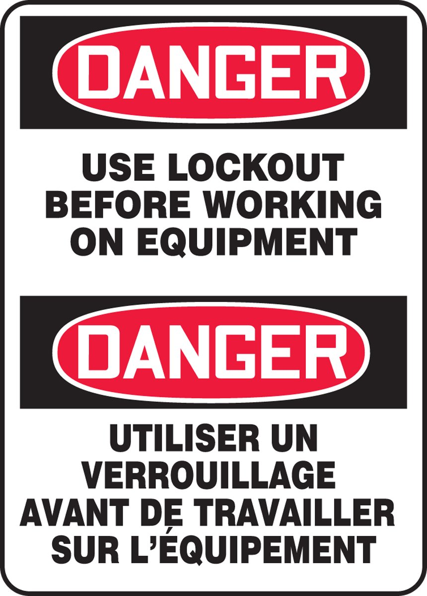Accuform DANGER USE LOCKOUT BEFORE WORKING ON EQUIPMENT (FBMLKT027VS)